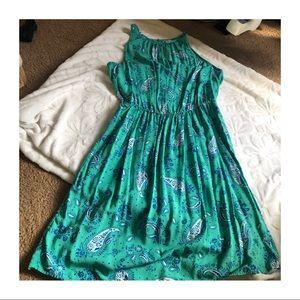 OLD NAVY Paisley High Neck Peplum Tank Dress